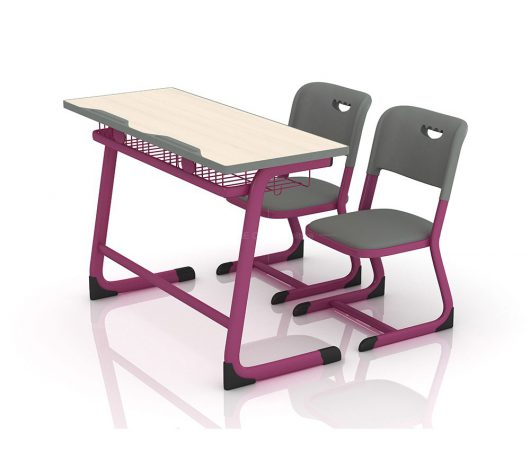 double school desks and chairs