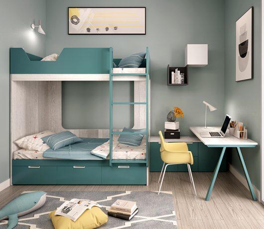 Lits superposés en dortoir